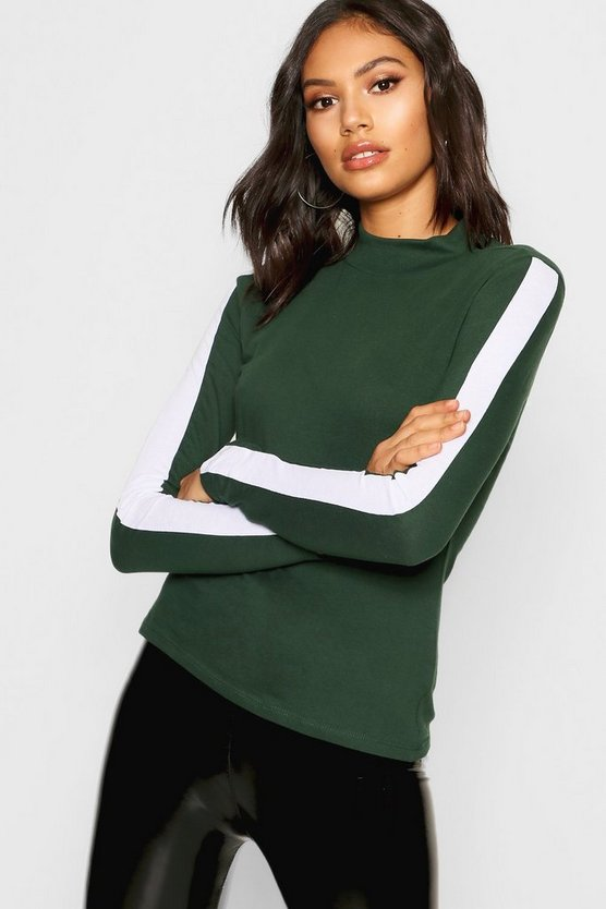 Side Stripe High Neck Long Sleeve Top