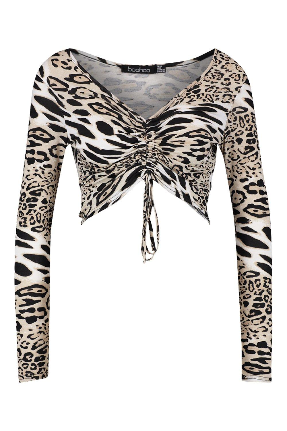Top Animal Print Front camel Ruched wTBTqxCp