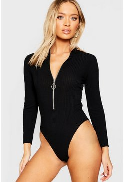 Womens Black Plunge Zip Rib Long Sleeve Bodysuit