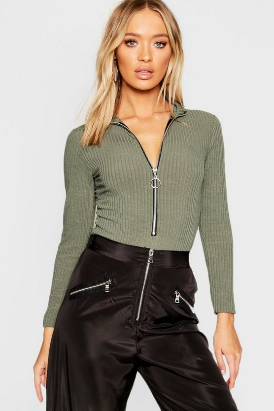 Plunge Zip Rib Long Sleeve Bodysuit