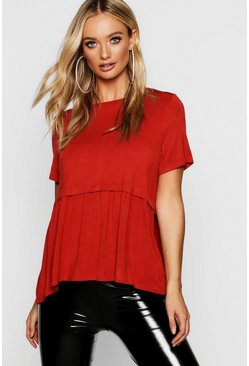 Womens Rust Scoop Neck Peplum Top