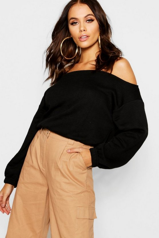 Womens Black Slouchy Off The Shoulder Crop Sweat