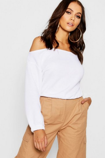 Womens White Slouchy Off The Shoulder Crop Sweat