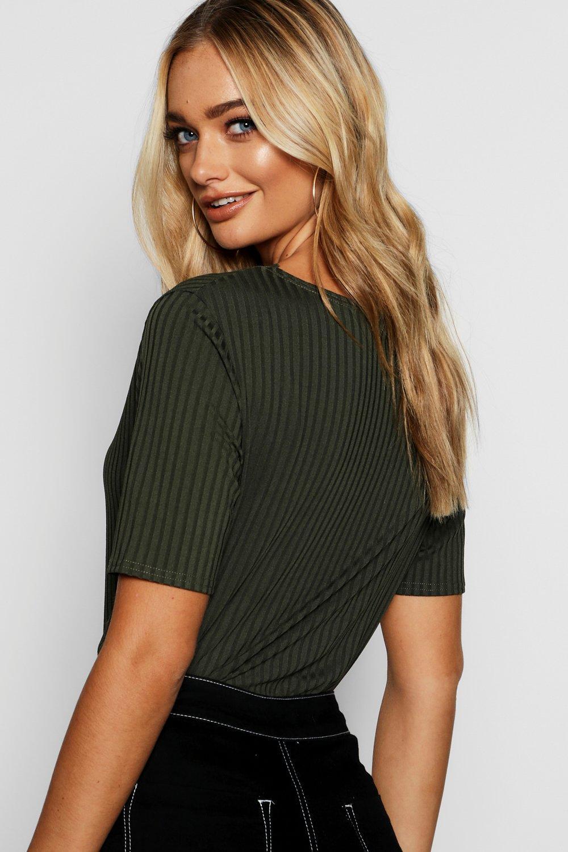 Neck V Rib T Lace Shirt black BEqAxUw