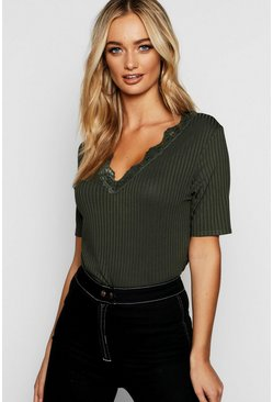 Womens Khaki Lace Rib V Neck T-Shirt