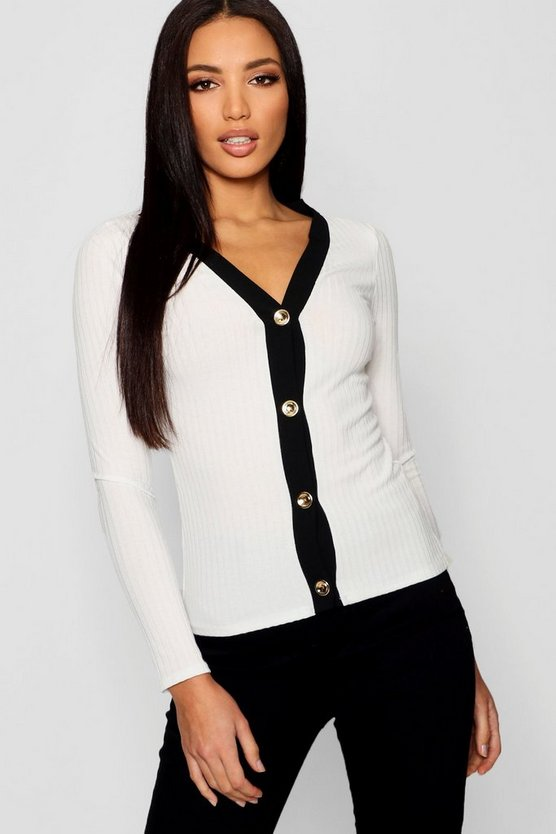 V Neck Button Contrast Top