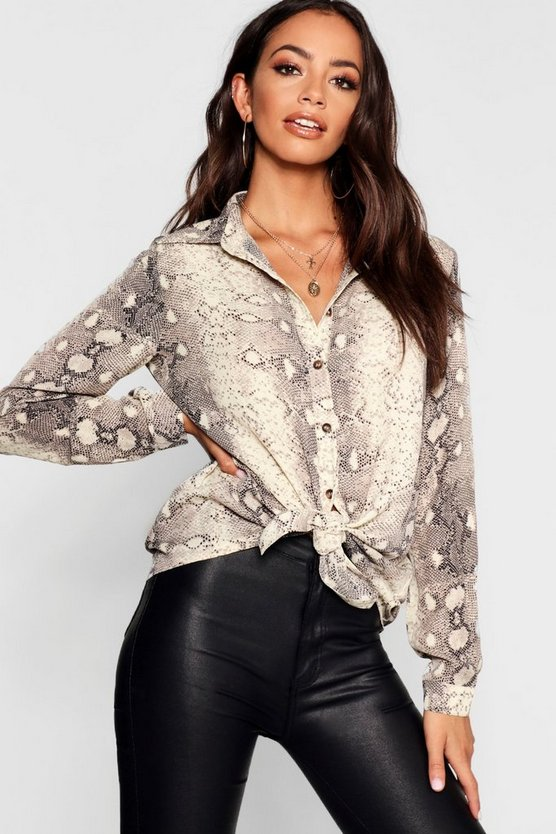 Womens Nude Snake Print Horn Button Shirt