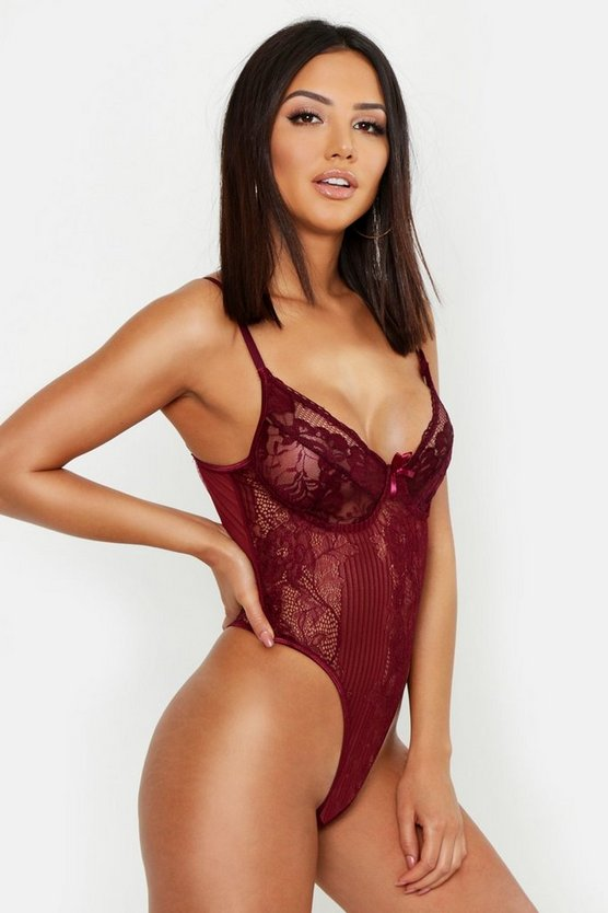 Womens Wine Lace Bodysuit