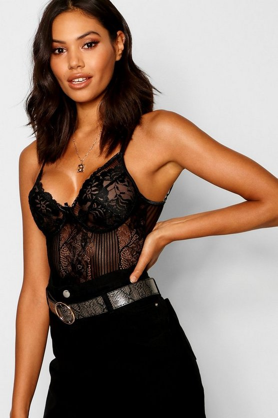 Womens Black Lace Bodysuit