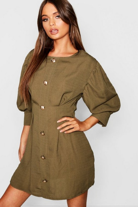Gold Button Long Sleeve Mini Dress