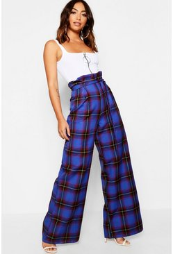 Womens Blue Tartan Check Paperbag Wide Leg Woven Trouser