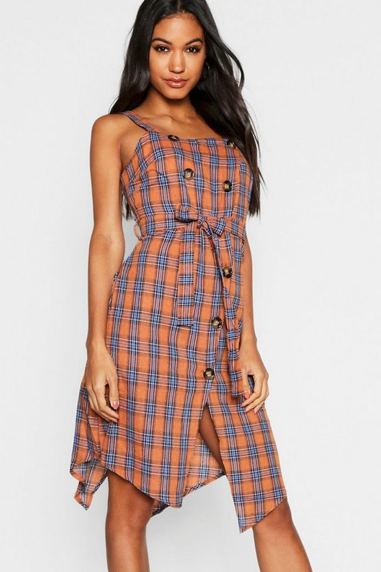 Check Horn Button Midi Dress