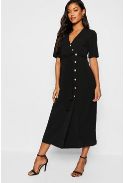 Womens Black Gold Button Wrap Midi Dress