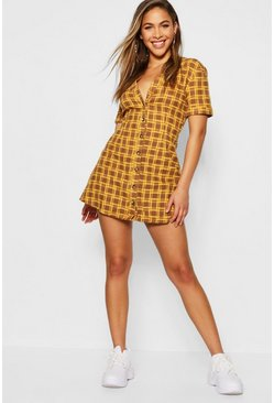 Womens Mustard Check Horn Button Shift Dress