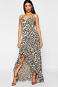 Leopard Strappy Ruffle Maxi Dress