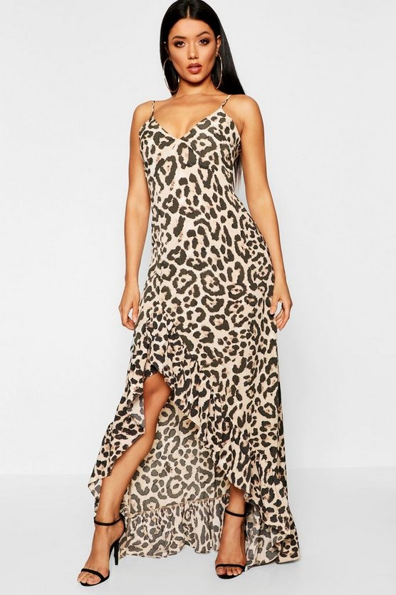 Womens Brown Leopard Strappy Ruffle Maxi Dress