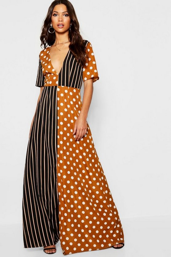 Spot & Stripe Contrast Maxi Dress