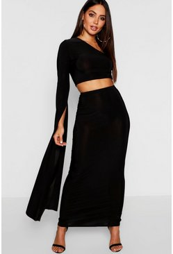Womens Black One Shoulder Extreme Sleeve + Maxi Skirt Co-Ord