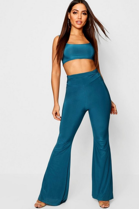 Womens Teal Square Neck Bralet + Ruched Detail Wide Leg Trouser Co-Ord