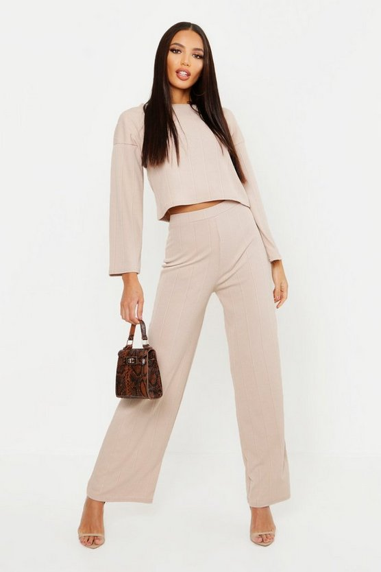 Oversized Boxy Rib Top + Trouser Co-Ord