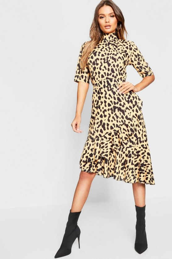 Leopard Print High Neck Blouse + Ruffle Wrap Skirt Co-Ord