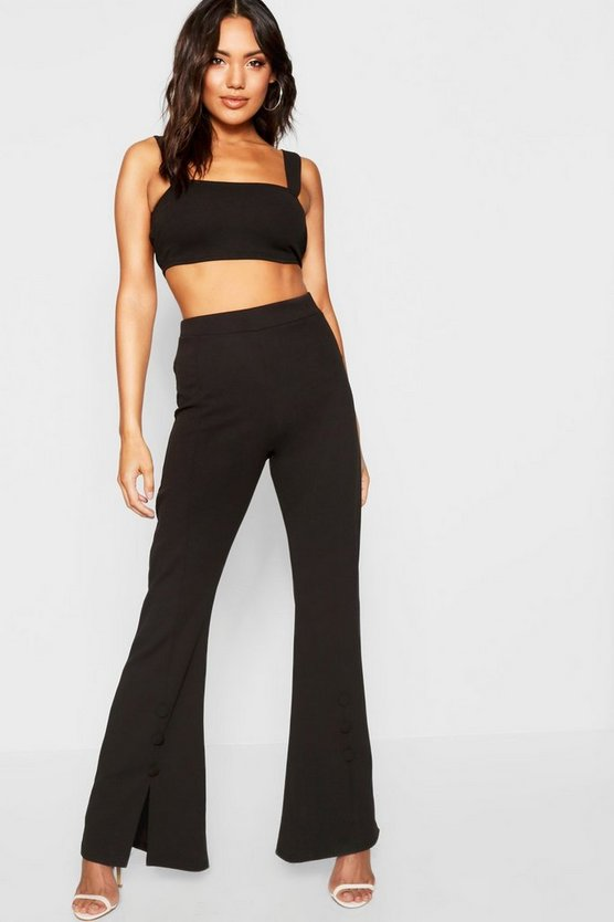Square Neck Bralet + Button Detail Flare Co-Ord