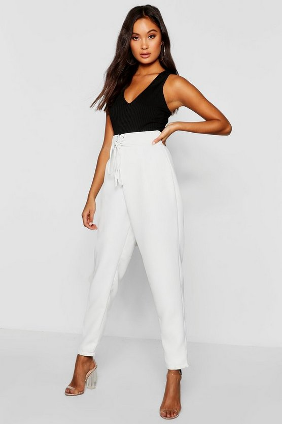 Womens White Tie Front Belted Woven Trouser
