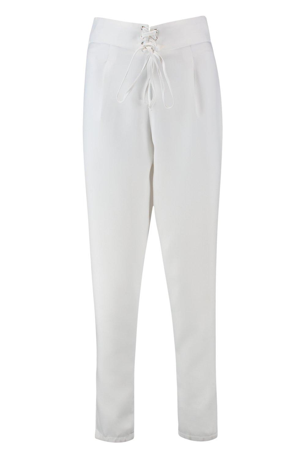 Trouser Woven Belted Tie white Front q0wt071