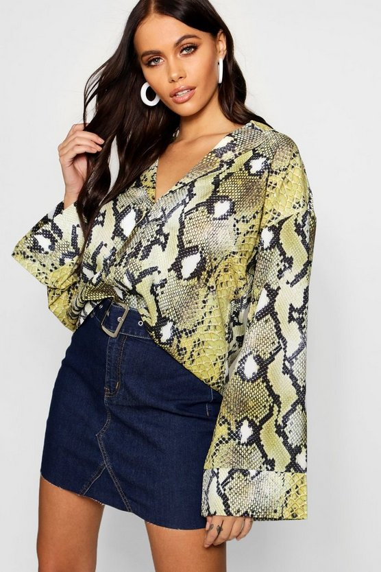 Womens Lime Snake Print Flare Sleeve Satin Shirt