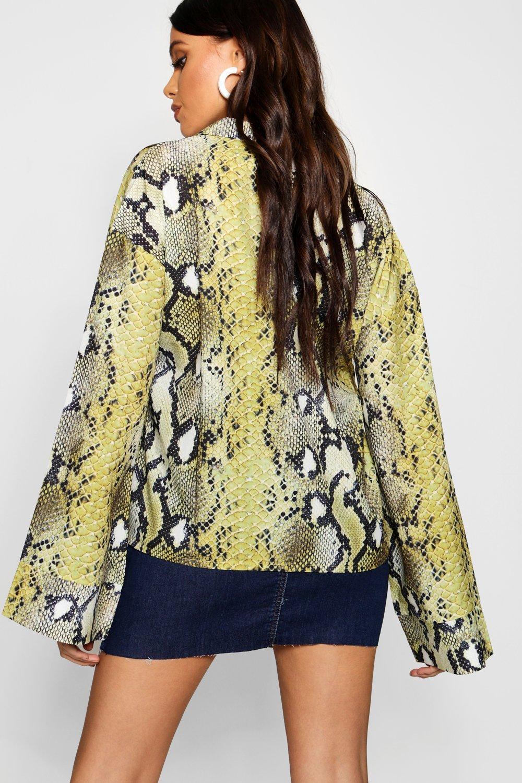 Flare lime Print Shirt Sleeve Snake Satin p5Bw7Wq