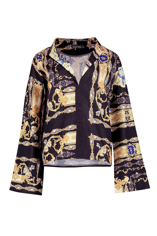 Sleeve black Flare Shirt Scarf Print Satin gwCxgTqP