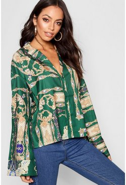 Womens Scarf Print Flare Sleeve Satin Shirt