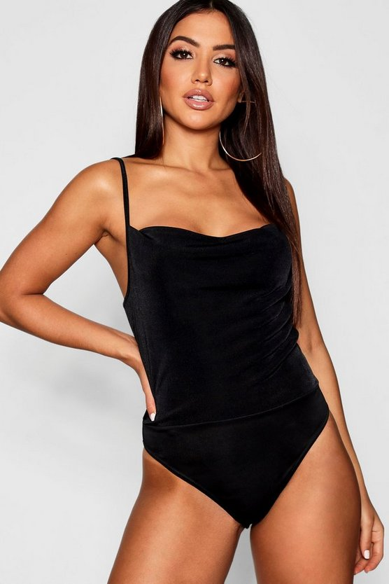 Black Metallic Textured Cowl Bodysuit