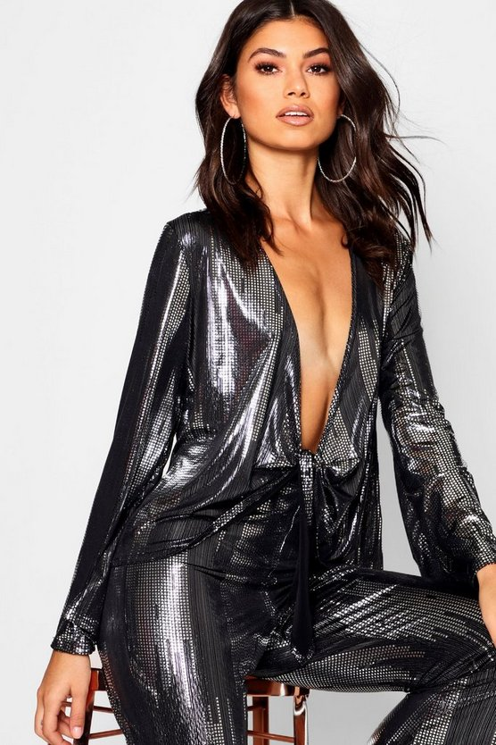Womens Black Metallic Tie Front Blouse