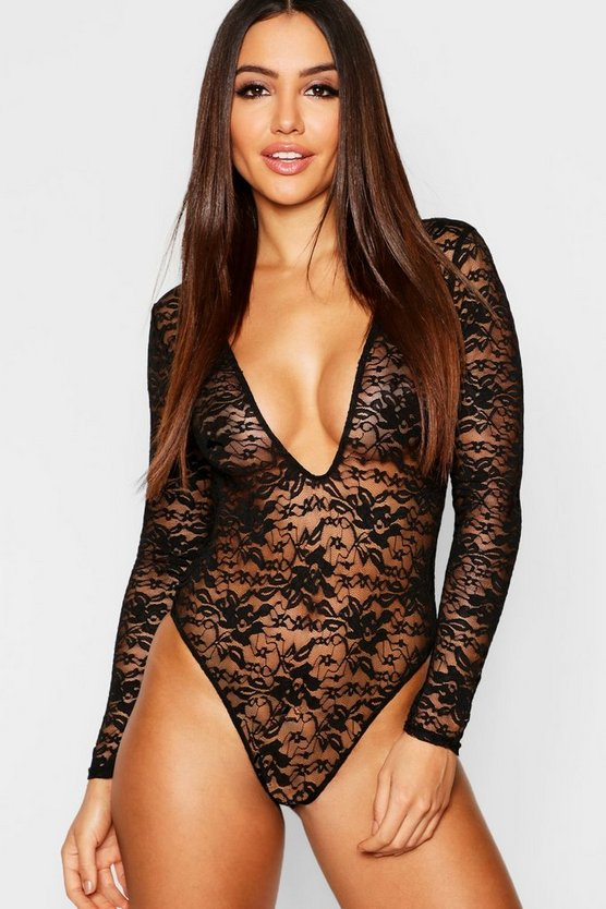 Womens Black Lace Plunge Long Sleeve Bodysuit