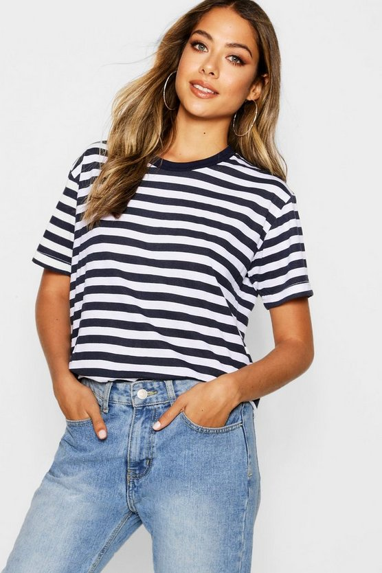 Womens Navy Basic Cotton Stripe T-Shirt