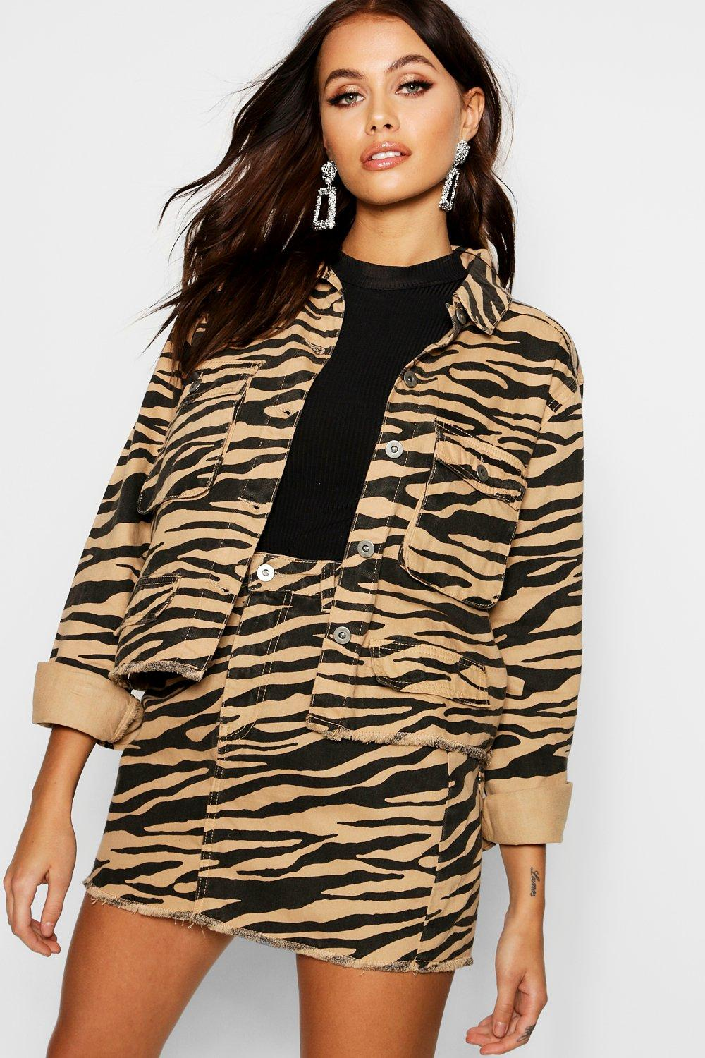 b99635a69b92 Tiger Print Cropped Utility Jacket. Hover to zoom