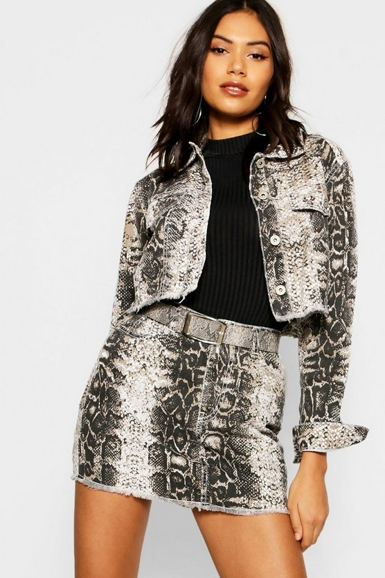 Snake Print Denim Skirt