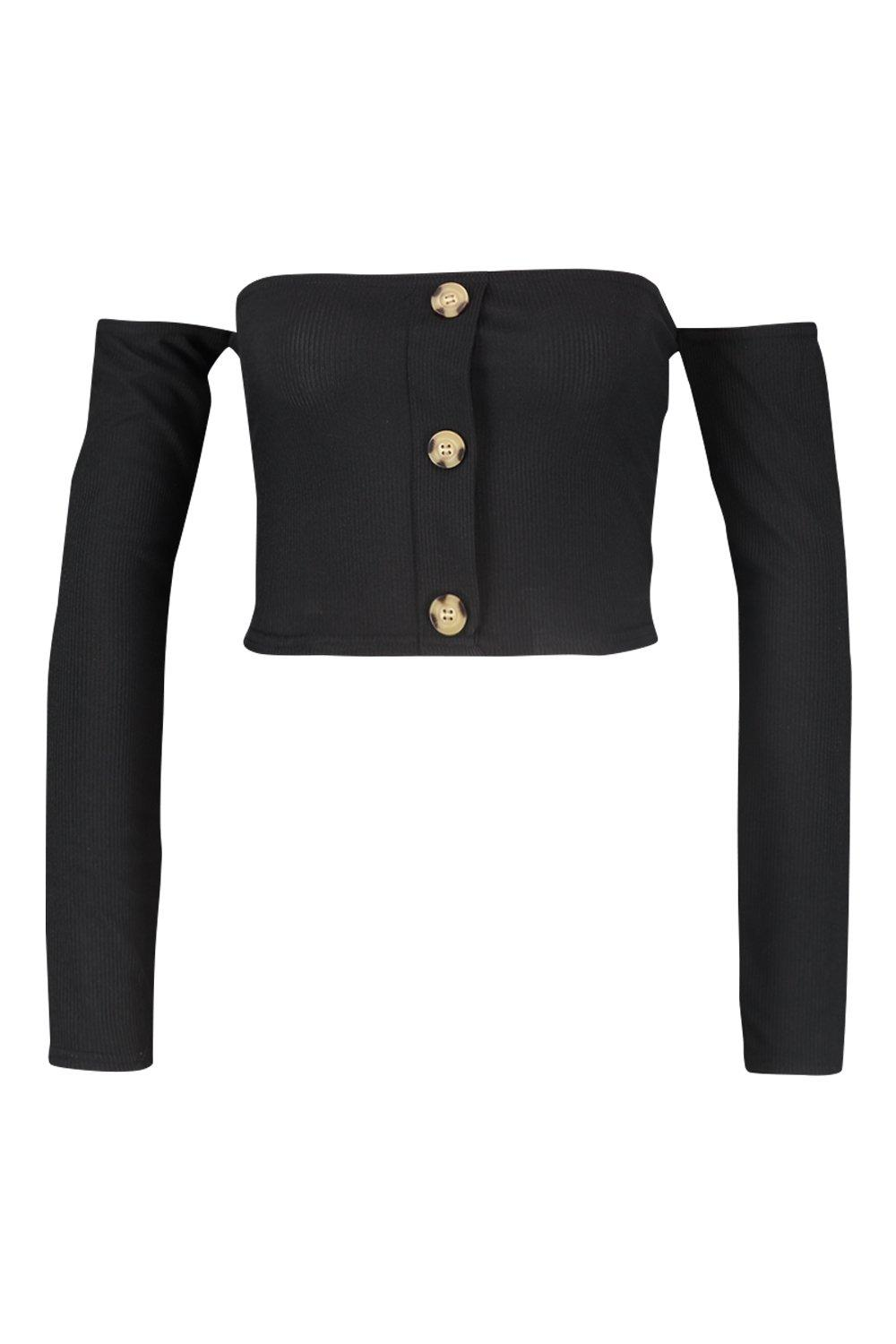 The Top Off Crop black Shoulder gqdawxHOZ