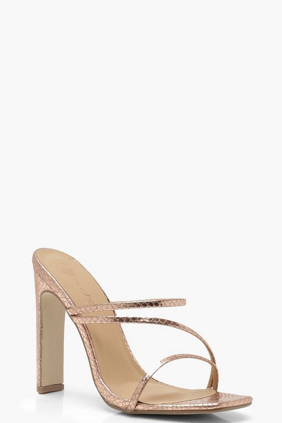 Womens Rose gold Wide Fit Square Toe Mule Heels