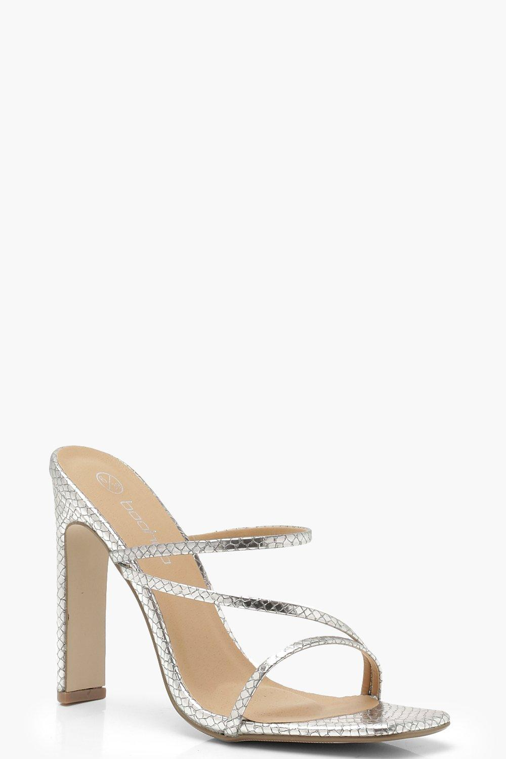 Snake Metallic Cushion Flat Heel Mules