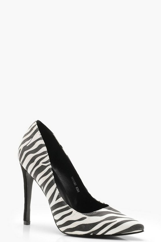 Mono Zebra Pointed Court Shoes