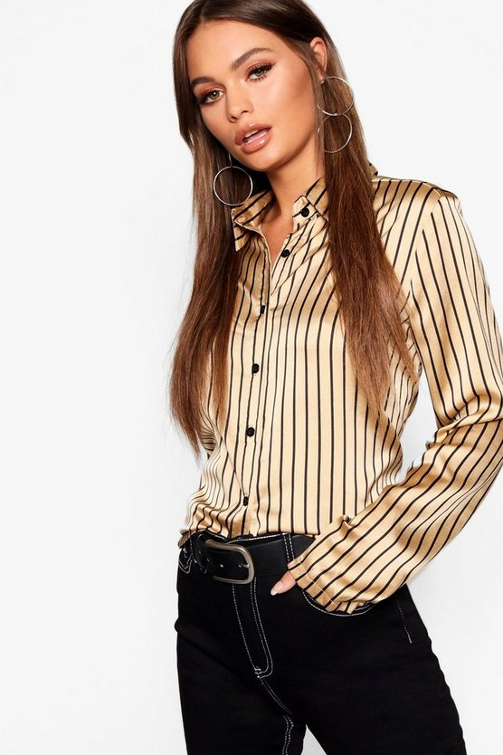 Womens Satin Stripe Oversized Shirt