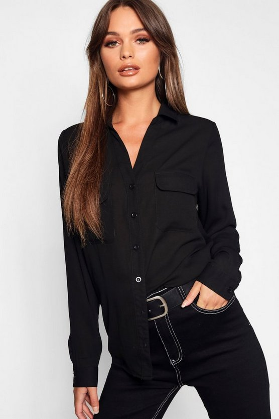 Womens Black Chiffon Utility Shirt