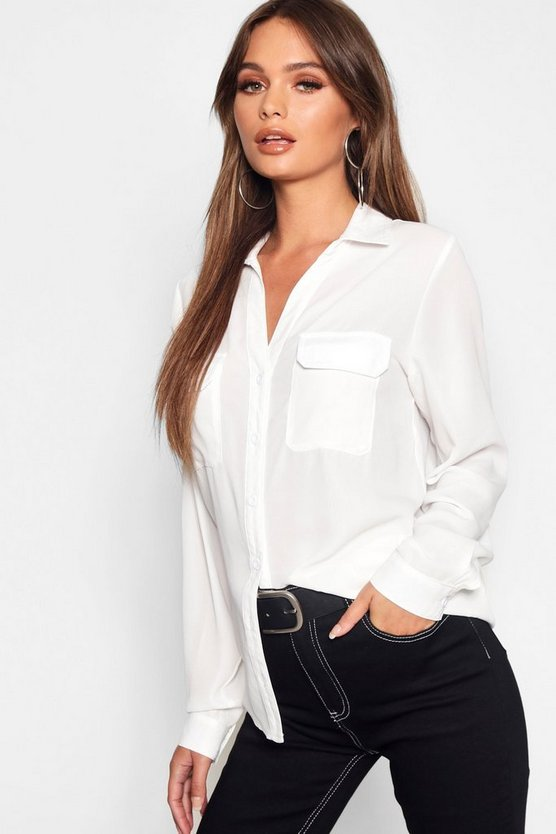 Womens White Chiffon Utility Shirt