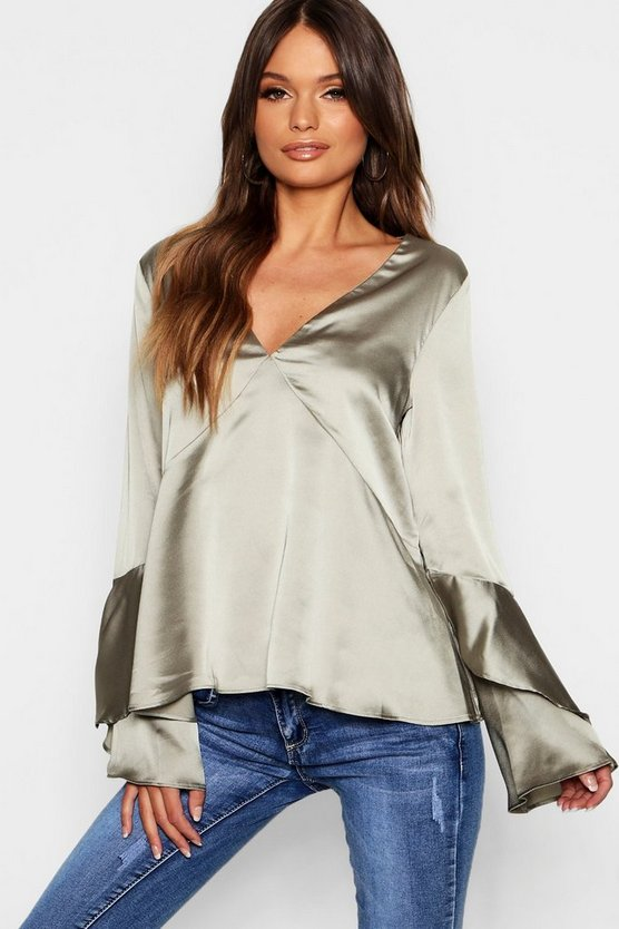 Womens V Neck Flute Sleeve Satin Blouse