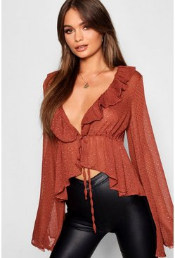 Womens Brick Metallic Spot Ruffle Plunge Blouse