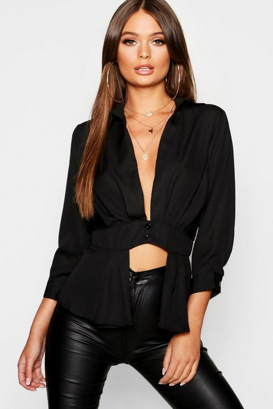 Womens Black Plunge Neck Split Front Peplum Shirt