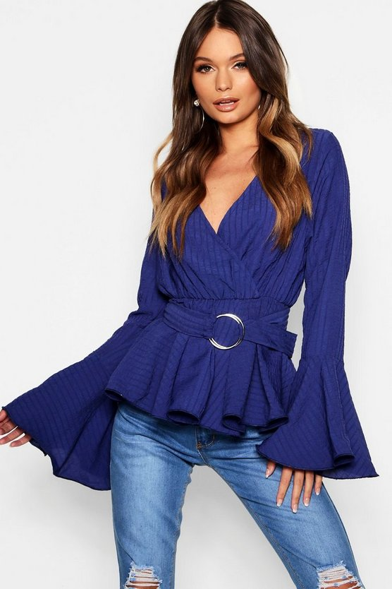 Textured Wrap Pep Hem Belted Blouse