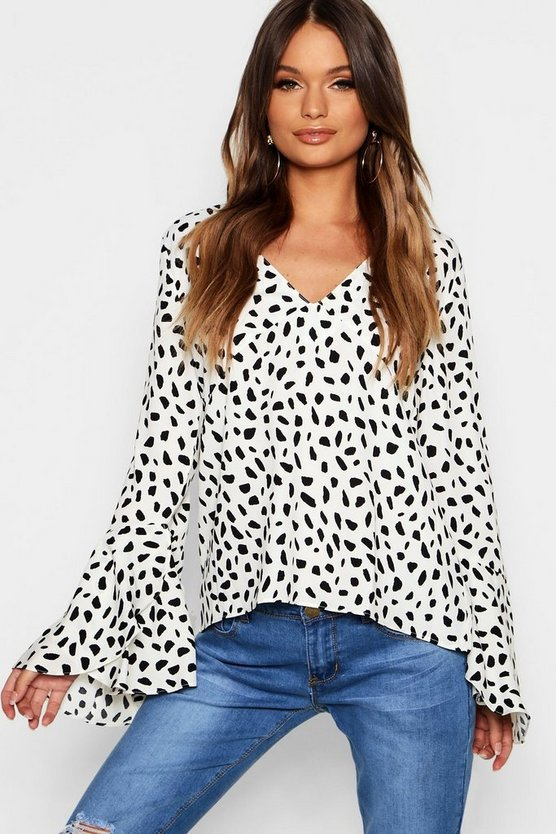 Printed V Neck Sleeve Detail Blouse